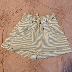 Striped High Waist Paper Bag Shorts Small